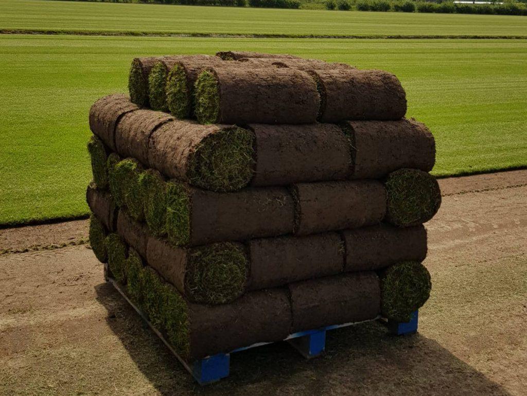 Een pallet vers gesneden graszoden